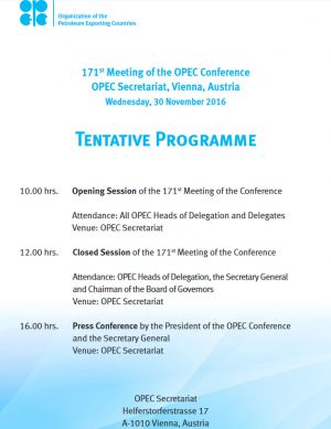 Schedule and Updates ahead of Nov30th 2016 OPEC Meeting